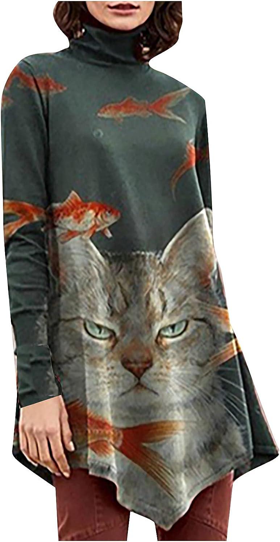 Women's Fall Turtleneck Flowy Tops Retro Print Ethnic Style Blouse Casual Long Sleeve Asymmetrical Hem Shirt Pullover