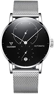Men's Automatic Watch Minimalist Calendar with Mesh Strap
