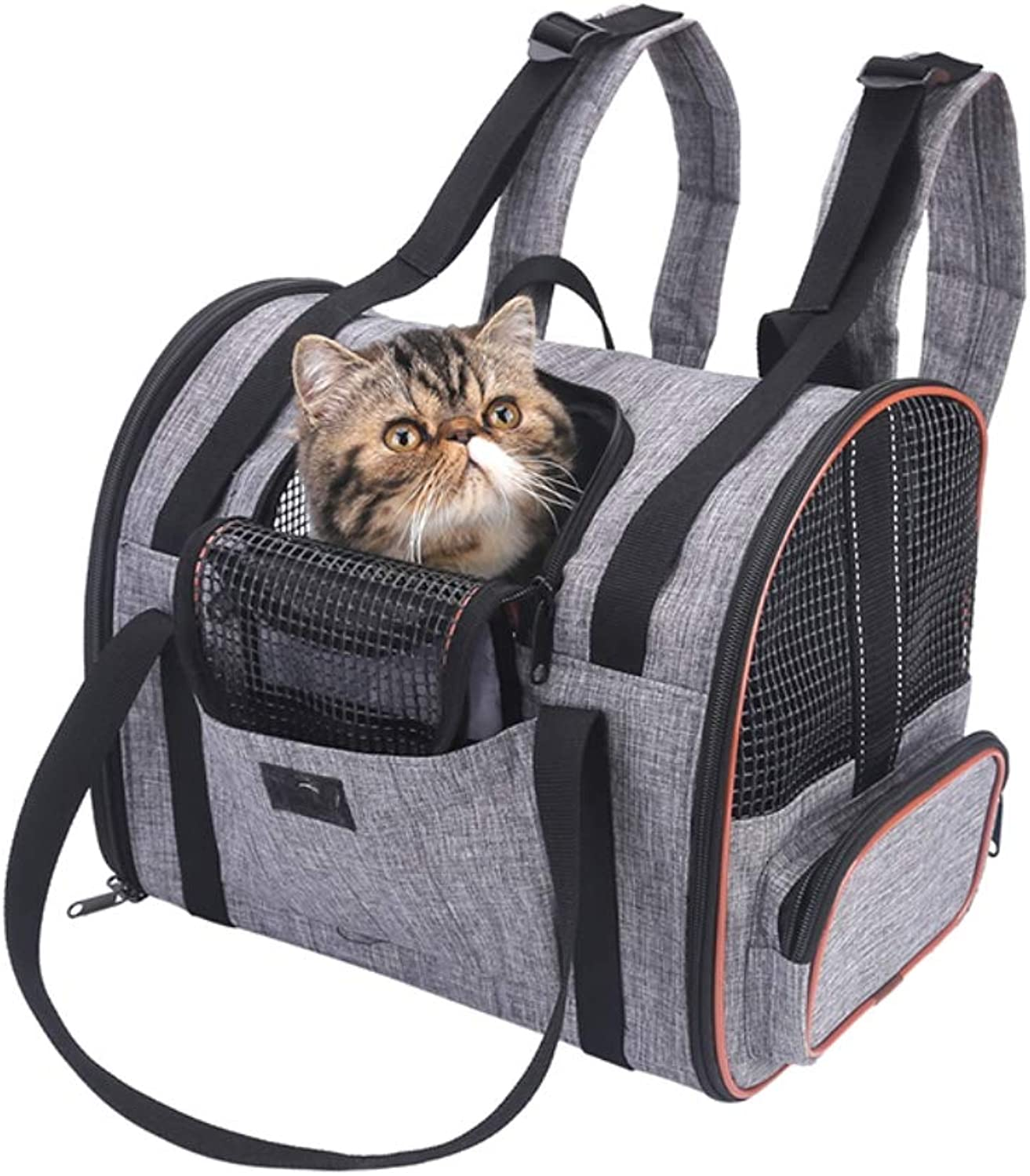 IW.HLMF Lightweight Pet Carrier Bag Dog Cat Travel Carrier Bags Collapsible Animal Backpack Bag Mesh Soft Side Dog Kennel Crate for Adult Baby Cats,B