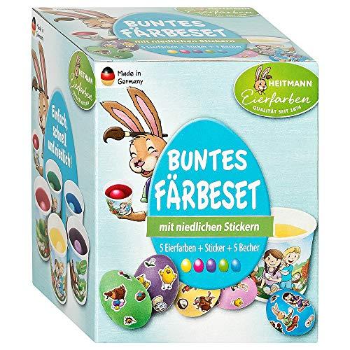 Heitmann Eierfarben-Set - fünf Kaltfarben - Färbetabletten und Sticker - lustige Gesichter - freche Eierköpfe - Ostereier verzieren
