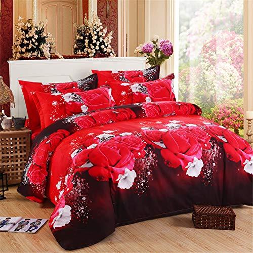 DOTBUY 3D Bettbezug Set, 4 Stück Super Weiche und Angenehme Mikrofaser Einfache Bettwäsche Set Gemütlich Enthalten Bettbezug Bettlaken & Kissenbezug Betten Schlafzimmer (200x230cm, Groß Rot)