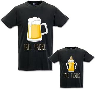 Coppia di T-Shirt Magliette Papa' E Figlio/Figlia Idea Regalo Festa del Papa' Tale Padre Tale Figlio - Birra