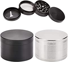 "Set of 2 Herb Spice Grinder Black Silver Zinc alloy 2.5"" 4 Piece with Pollen Scraper, Magnetic Top and Sharp Teeth - Food ..."