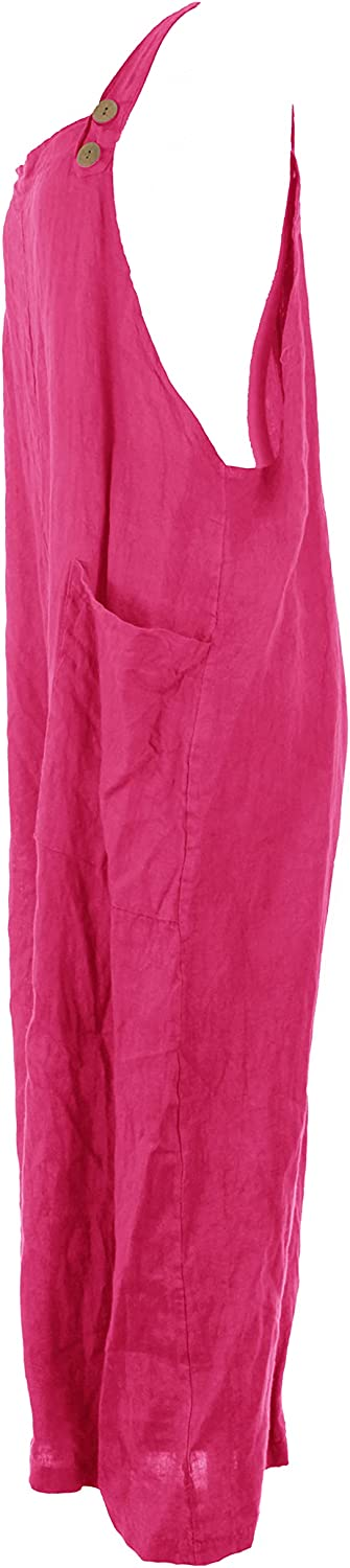 Ladies Womens Italian Lagenlook Plain Button Strap 2 Pocket Linen Long Dungarees Overalls One Size