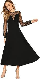 Women's Elegant Long Sleeve Mesh Sweetheart Neck Flared Maxi Dress