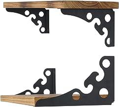 Ouvin Decoratieve wandbeugels 4 Pack drijvende plankbeugels 6 inch retro zwart multifunctionele hoekbrace plank ondersteun...