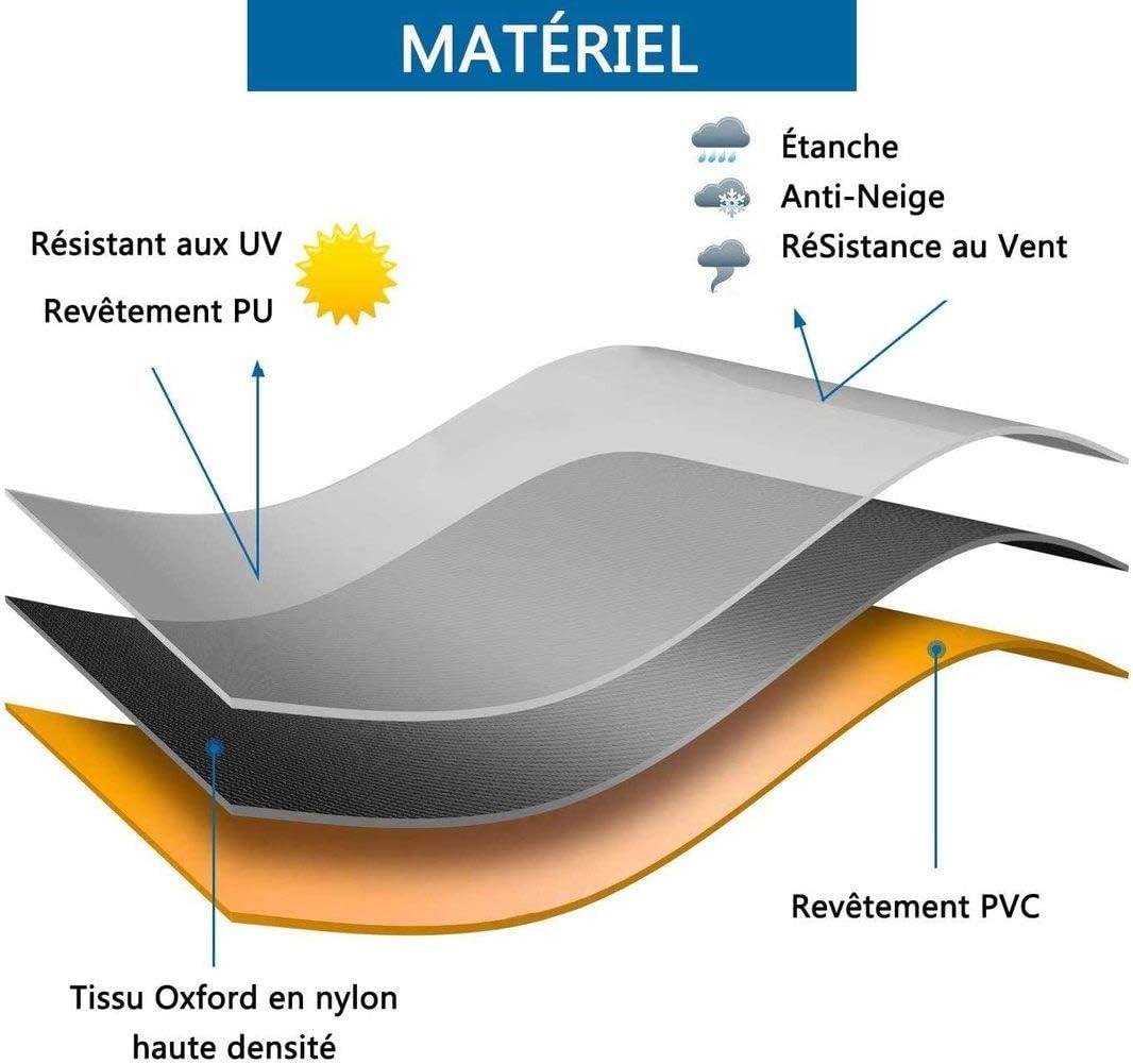 rectangulares impermeable resistente al polvo plateadas 86 x 86 x 36 cm resistente a los rayos UV con cord/ón Lagaga Juego de fundas para muebles de patio cuadradas para exteriores