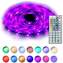YIJUYX LED Strip Lights, LED Tape Lights RGB 5M 16.4Ft SMD 5050 Flexible Color Changing Kit with 44 Keys IR Remote Controller, 12V 2A Power Supply