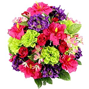 Silk Flower Arrangements Admired By Nature Artificial Hibiscus with Rosebud, Freesias & Fillers Flower Mixed Bush - 36 Stems for Memorial Day