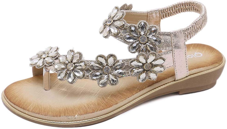 Women's Crystal Elastic Strap Toe Ring Sandal Flip Flops Bohemia Summer Beach Ankle Strap Flat Casual Sandals shoes