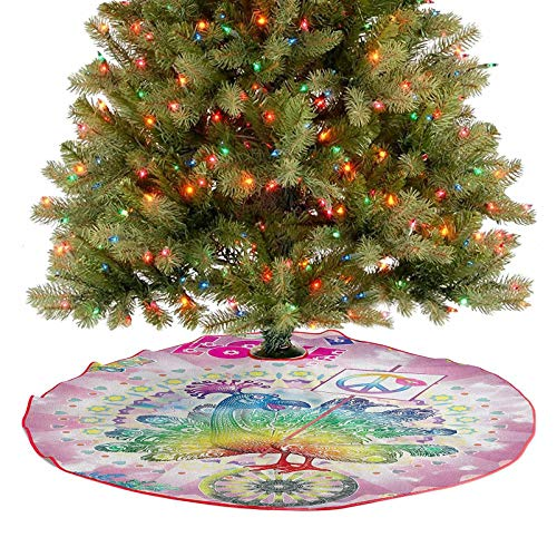 Homesonne Large Christmas Tree Skirt Tropical Hippie Turkey Love Lettering Sunshine Hearts Beachy 60s Peace Vintage Holiday Party Tree Mat Goes Perfectly with Your Tree Multi 36 Inch