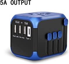 Nocalen Upgraded International Universal Travel Adapter with Self-Reset Fuse (High-Speed 5A/30W Max ,3 USB Ports &Type-C ),Worldwide All in One Plugs Converter Smart Charger AC Power Wall Plug for Worldwide 220+ Countries like Europe Asia Japan Australia India Israel Germany France Italy India China Russia American British European Adapter(Dark blue)