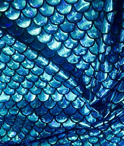 Tissu en jersey écailles de sirène - Feuille de conte de poisson – Spandex – Lycra – Matériau extensible 2 voies – 150 cm de large – 7 couleurs (vendu au mètre) (bleu turquoise)