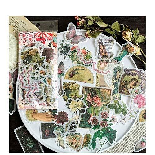 Aolvo - Paquete de adhesivos con dibujos (60 unidades), diseño de plantas tropicales con flores, rosas y flores silvestres, mariposas Couleur 5