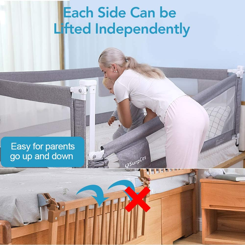 SURPCOS Bed Rails for Toddlers -New Upgraded Extra Long Bed Guardrail for Kids Great Fit for Twin, Double, Full-Size Queen & King Mattress, Grey (78.7 x 26in)