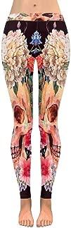 INTERESTPRINT Women's Fashion Print Yoga Pants Skull Peony Wildflowers Bouquet Butterfly Soft Slim Low Rise Leggings