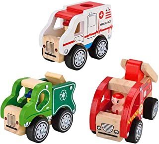 KIDS TOYLAND Pre-Kindergarten Toys City Vehicles for Kids Wood Play Sets Ambulance +Toy Recycle Truck+ Fire Engine(3 Wooden Car Models)