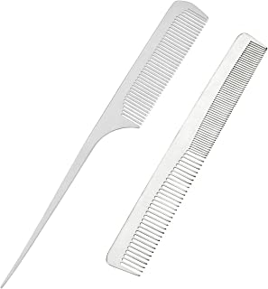 CCbeauty 2-Packs Metal Barber Comb Set Pack for Men & Women,Professional Hairdressing Salon Combs Hair cutting Tool Detangler Comb with Leather Bag (# 3)