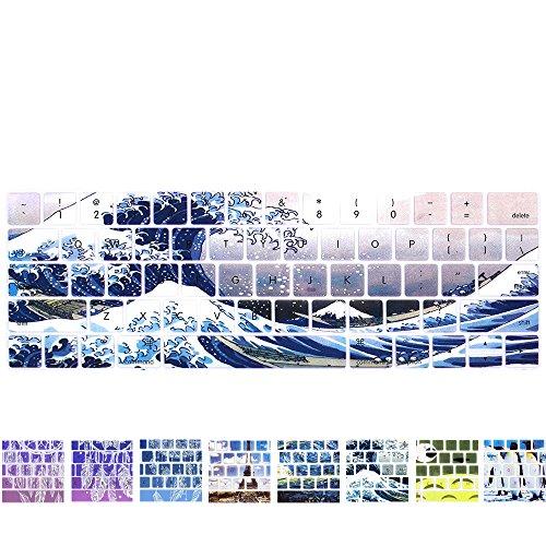 Funut MacBook Pro Keyboard Cover with Touch Bar 13 inch Silicone Keyboard Skin and 15 inc Premium Ultra Thin TPU 2019-2016 (Apple Model A2159 A1989 A1990 A1706 A1707) Skin Protector - Showa Sea