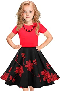 LEEGEEL Girls Vintage Dress Polka Dot Swing Rockabilly Dresses with Necklace Size 6-12 Girls Dresses