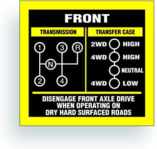 Solar Graphics USA Transmission Shift Pattern Decal - Compatible with Jeep, Willys Or CJ May Fit Transmission and Transfer Case Models T98, T18, 4 Speed, Single Stick - 3x2.75 inch