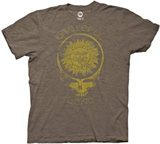 Grateful Dead Adult Unisex Steal Your Face Sun with Curved Type Light Weight Crew T-Shirt