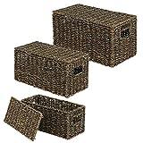 mDesign boîte de rangement (set de 3) – panier pour vêtements élégant avec couvercle en algues – panier tressé avec poignées idéal pour le rangement de vêtements, jouets – noir