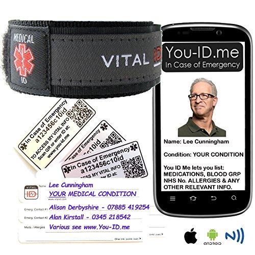 Medizinisches Identifikations-Armband für Erwachsene und Kinder von Vital ID,100 % wasserdicht,reißfeste Einsteckkarte,zum Speichern von Notfallkontakten, Medikamentennamen, Kontaktdaten von Familienmitgliedern,weitreichende Kompatibilität mit Smartphones, Etiketten, Gummi, Electronic, S