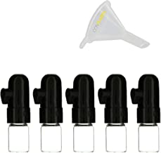 5 Pack Bundle | Premium 1g Short Black Snuff Bullet Spice Storage (Glass and Acrylic) with ConClarity Micro Funnel