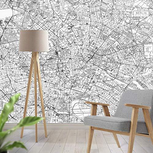 Fototapete Stadtplan Berlin Vlies Tapete Deutschland Hauptstadt Stadt Karte Ort Straßennetz Orientierung Wall-Art - 192x260 cm