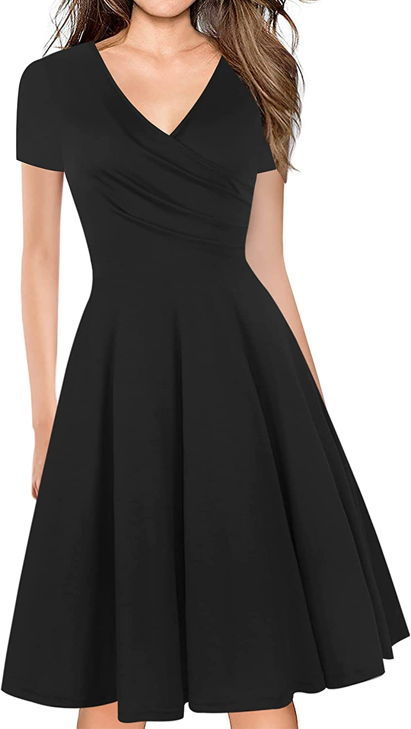 Sale Special Price oxiuly Women's Chic Deep V-Neck Casual A-Line Gradu Deluxe Summer Dress