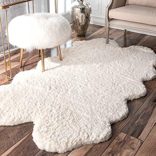 nuLOOM Faux Sheepskin Matix Shag Rug, 3' 6' x 6', Natural