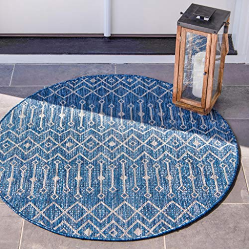 Unique Loom Outdoor Trellis Collection Tribal Geometric Transitional Indoor and Outdoor Flatweave Blue/Ivory Round Rug (7' 0 x 7' 0)