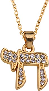 My Shape Crystal Jewish Chai Kabbalah Pendant Necklace Hebrew Letter Necklace Jewelry for Men Women