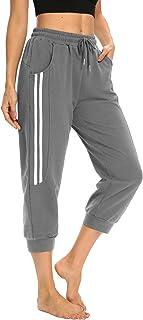 ZJCT Yoga Capris for Women Casual Summer Crop Pants Loose Comfy Drawstring Stripped Jogger Capri Pants with Pockets