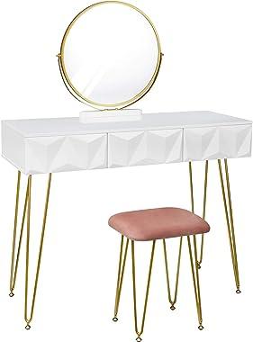 eSituro Table de Maquillage avec Miroir et Tabouret Cadre en métal doré Coiffeuse Blanche Style Moderne avec 3 tiroirs SDT004