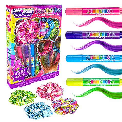 Fashion Angels Care Bear Hair Day Scrunchie and Hair Chox Set, Creative Gifts for Girls, Includes 4 Care Bears Printed Hair Scrunchies and 4 Temporary Hair Chalk Pens, for Ages 6 and Up