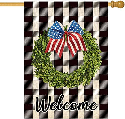 SevenX Willkommen Amerikanische Patriotische Kranz Garten Flagge 4. Juli Unabhängigkeitstag Doppelte Größe Memorial Day Buffalo Check Plaid Rustikales Bauernhaus Sackleinen Flagge Hof Außendek