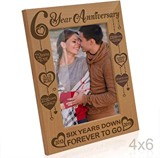 KATE POSH Six Year Anniversary, 6th Wedding Anniversary Engraved Natural Wood Picture Frame, 6 Years Together, 6 Years as Husband and Wife, as Boyfriend and Girlfriend, Couple Gifts (4x6 Vertical)