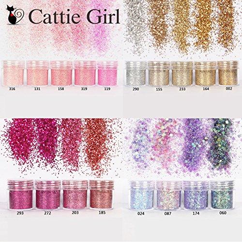 Cattie Girl - Set de 18 cajas de uñas con purpurina de color rosa con lentejuelas, purpurina,...