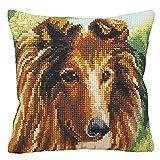 DRTWE Kit Di Punti Incrociati FAI-Da-Te per Il Tessuto del Filo Principiante Cuscino Mat Long Hair Dog Pattern Pre-Stampato Artigianato Ricamo Gettare Federa Set Ricamo