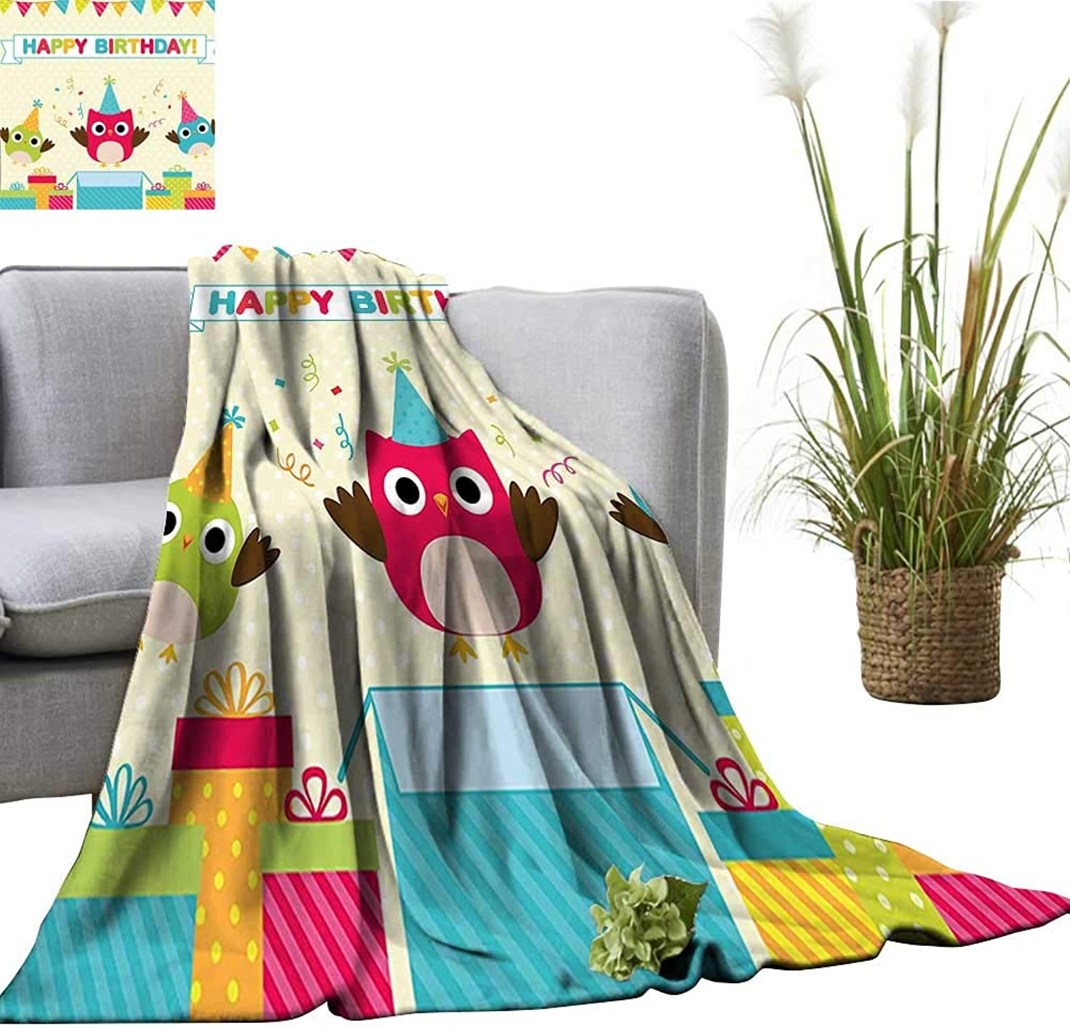 YOYI Digital Printing Blanket for Kids Happy Chubby Baby Owls Flags Box on Polka Dots Backdrop Image Better Deeper Sleep 50 x70