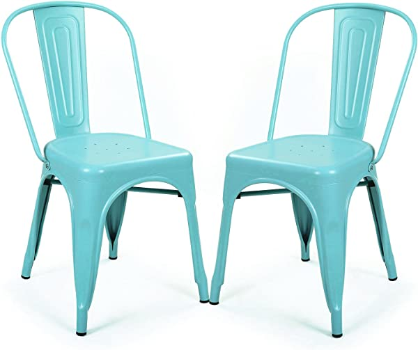 DecentHome Metal Stackable Tolix Style Dining Chairs Set Of 2 Light Blue
