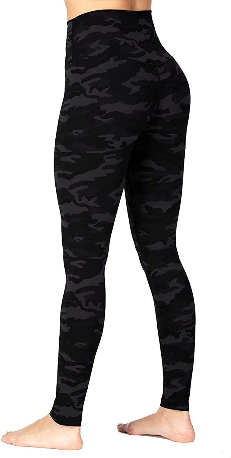 FUNEY Women's High Waist Yoga Pants Soft Opaque Tummy Control Leopard Camouflage Printed Pants for Running Cycling