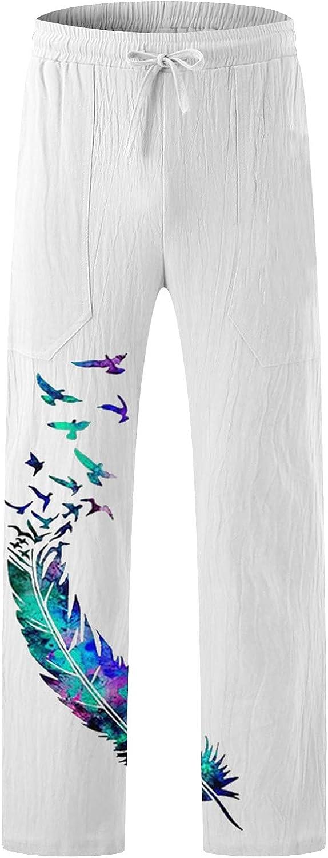 DZQUY Mens Elastic Waist Casual Lounge Pants Lightweight Drawstrintg Jogger Yoga Pants Summer Wide Leg Pants Trouses