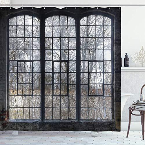 Industriële douchegordijn, 48 x 72 inch, oud groot raam met gebroken ruiten, verlaten hal, bosbomen, winterdoek, stof, badkamerdecoratie, met haken