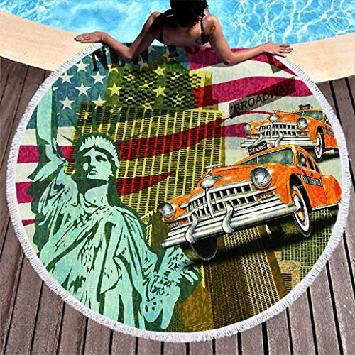 Wraill Jahrgang New York - Toalla de playa redonda, manta de picnic, para adultos, niños, playa, playa, playa, playa, rizo, absorbente, con borla, poliéster, blanco, 150 cm
