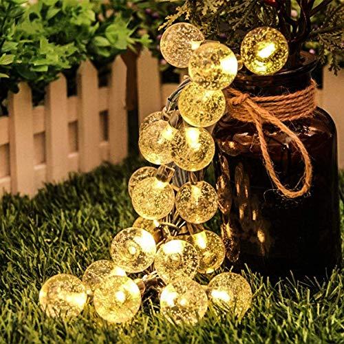 Ibello Guirnaldas Luces Exterior Solar, 30 LED Guirnalda luminosa Impermeable Cadena de Luces 8 Modos de iluminación para Dormitorio, Navidad, Boda, Jardín, Fiesta (Blanco Cálido)