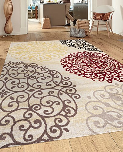 Rugshop Contemporary Modern Floral Indoor Soft Area Rug, 5'3″ x 7'3″, Cream