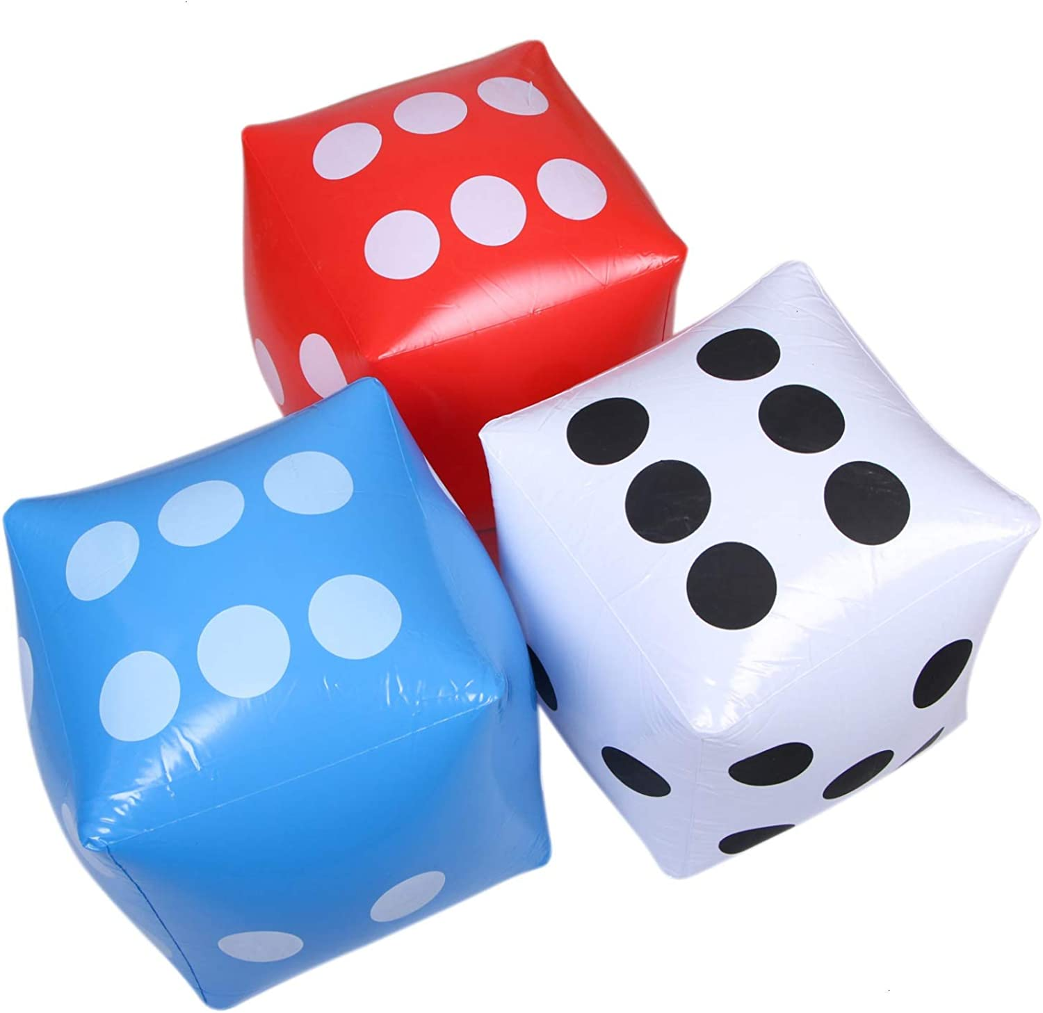 JETEHO Pack of 3 Inflatable Dice, Numeral Dice for Picnic Free Floor Games Lawn Games Outdoor Fun, 12 Inch